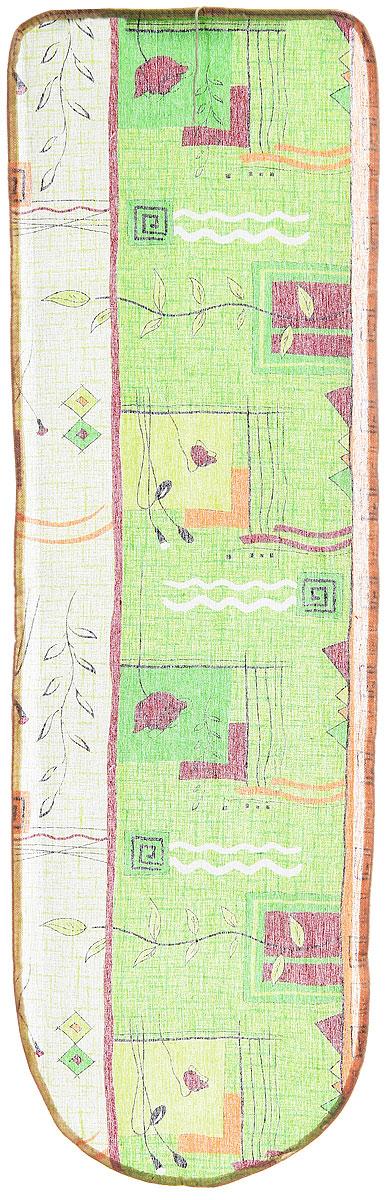 Чехол для гладильной доски Eva, цвет: салатовый, бордовый, оранжевый, 120 см х 38 см чехол для гладильной доски eva с поролоном цвет бежевый синий бордовый 119 х 37 см