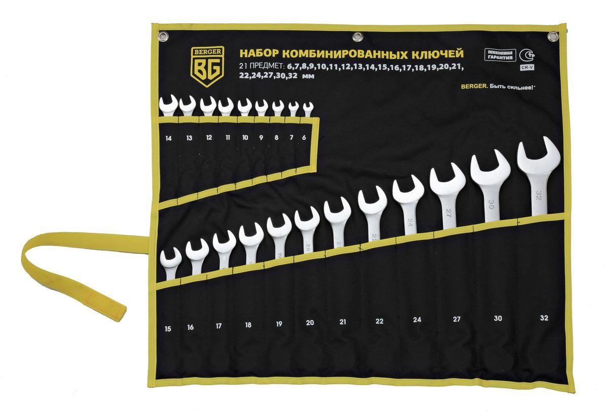 Набор ключей Berger, комбинированных, 21 предмет. BG1146 набор ключей комбинированных 9 предметов berger bg1144