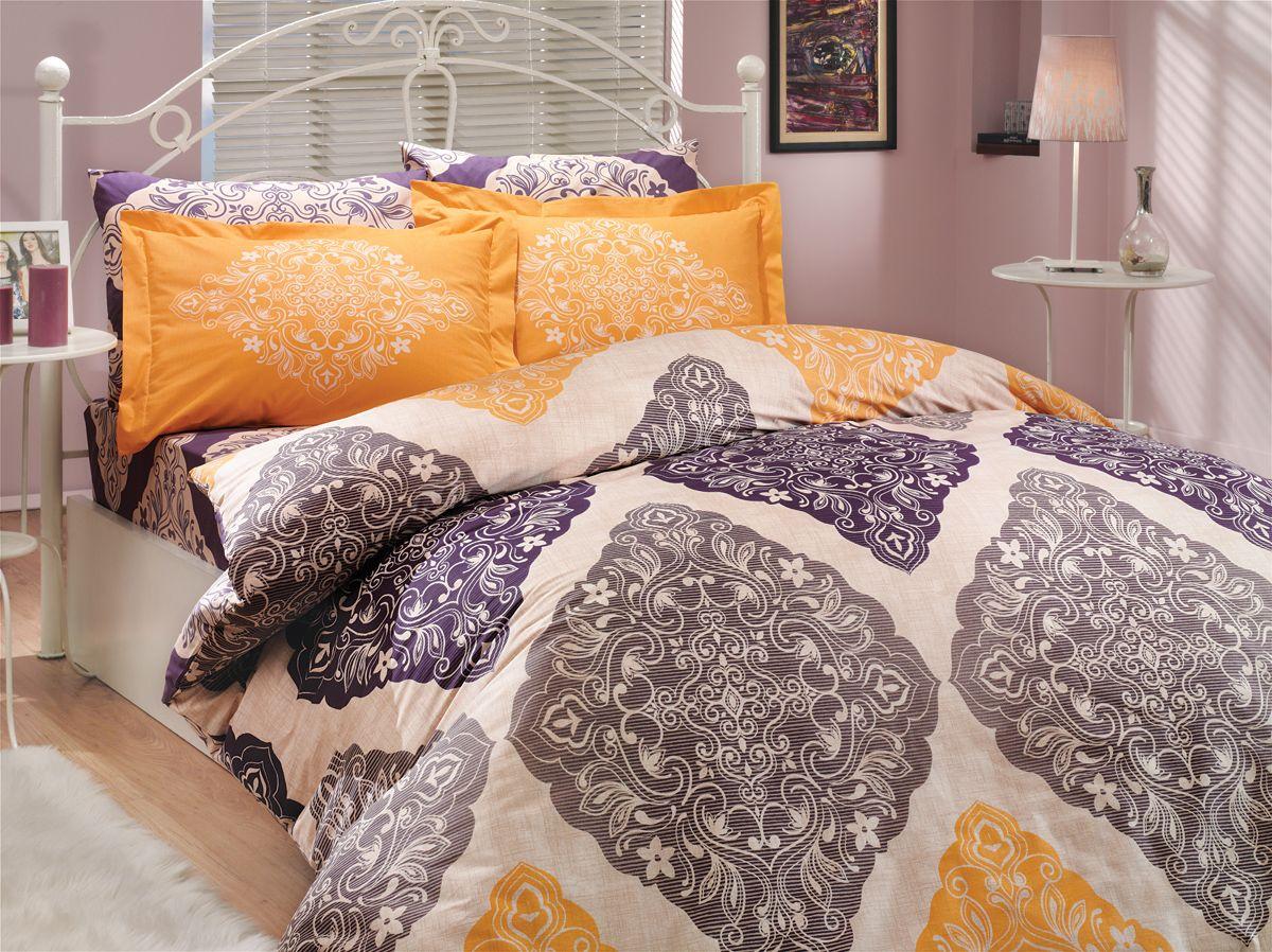 """Комплект белья Hobby Home Collection """"Amanda"""", 1,5-спальный, наволочки 50x70, 70x70, цвет: фиолетовый"""