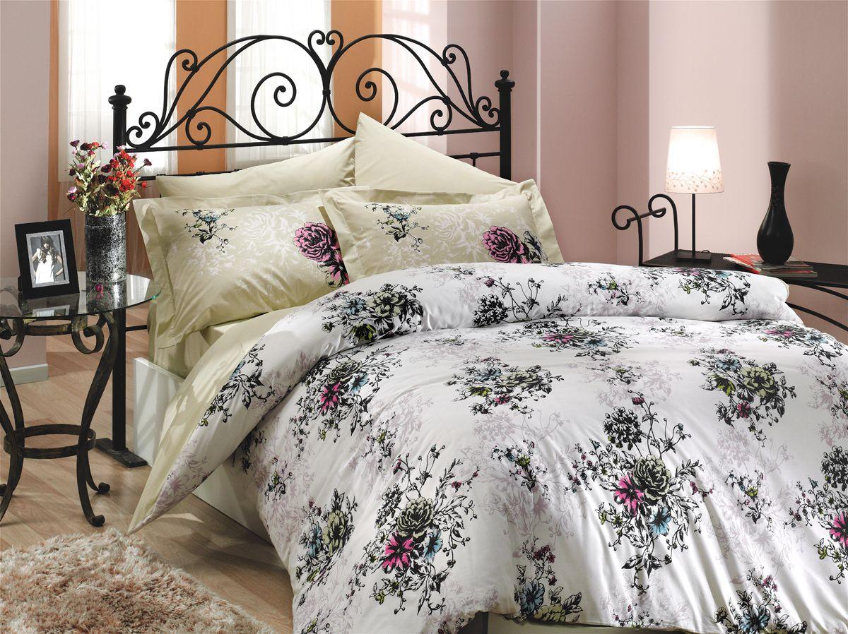 """Комплект белья Hobby Home Collection """"Carmen"""", 1,5-спальный, наволочки 50x70, 70x70, цвет: бежевый"""