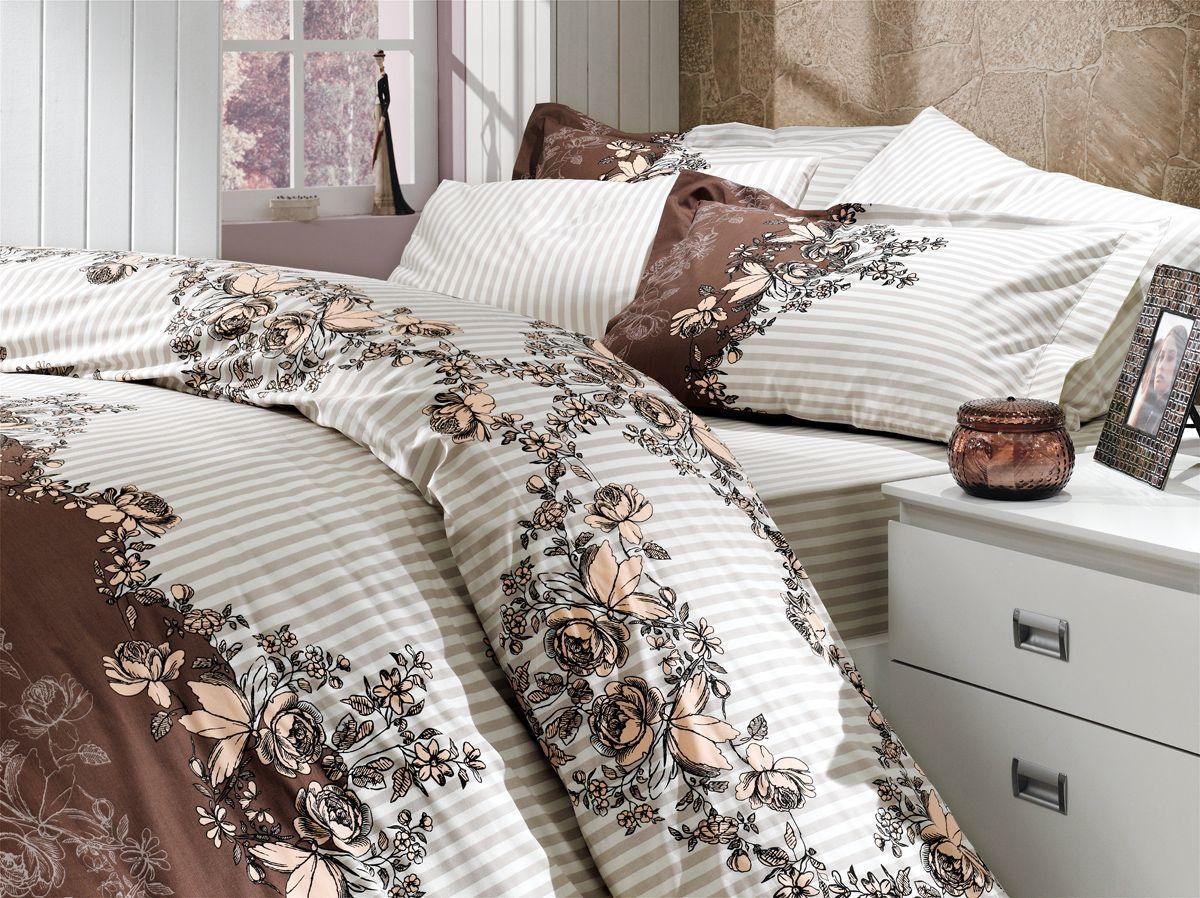 """Комплект белья Hobby Home Collection """"Delfina"""", 1,5-спальный, наволочки 50x70, 70x70, цвет: коричневый"""
