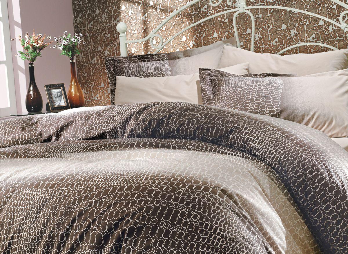 Комплект белья Hobby Home Collection Estela, 1,5-спальный, наволочки 50x70, 70x70, цвет: коричневый цена