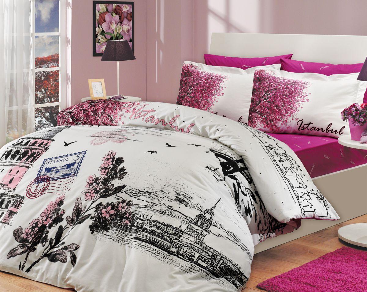 """Комплект белья Hobby Home Collection """"Istanbul Panaroma"""", 1,5-спальный, наволочки 50x70, 70x70, цвет: розовый"""