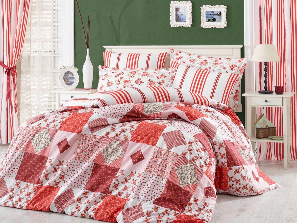 """Комплект белья Hobby Home Collection """"Clara"""", 1,5-спальный, наволочки 50x70, 70x70, цвет: красный"""