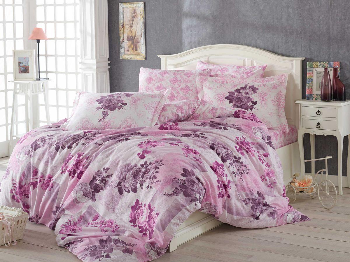 """Комплект белья Hobby Home Collection """"Elvira"""", 1,5-спальный, наволочки 50x70, 70x70, цвет: лиловый"""