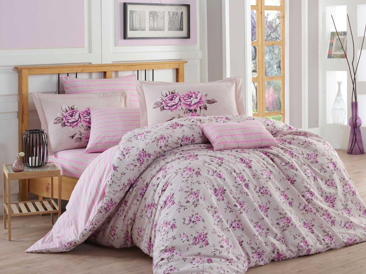 """Комплект белья Hobby Home Collection """"Flora"""", 1,5-спальный, наволочки 50x70, 70x70, цвет: лиловый"""