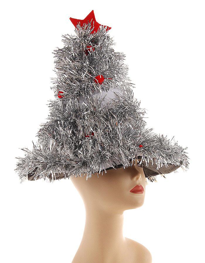 Карнавальная шляпа Sima-land Елочка, цвет: серебристый, красный. 327161 карнавальная шляпа sima land снежинка анимированная 333854