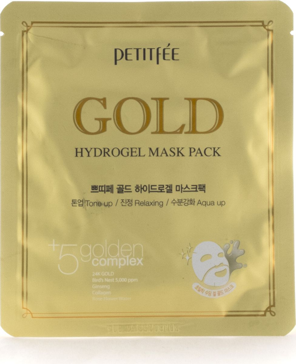 Petitfee Гидрогелевая маска для лица с золотом, 32гр