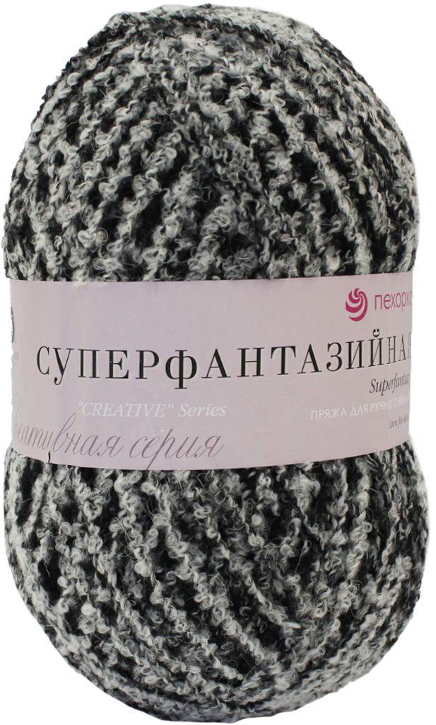 """Пряжа для вязания Пехорка """"Суперфантазийная"""", цвет: черный, белый (101М), 830 м, 360 г"""