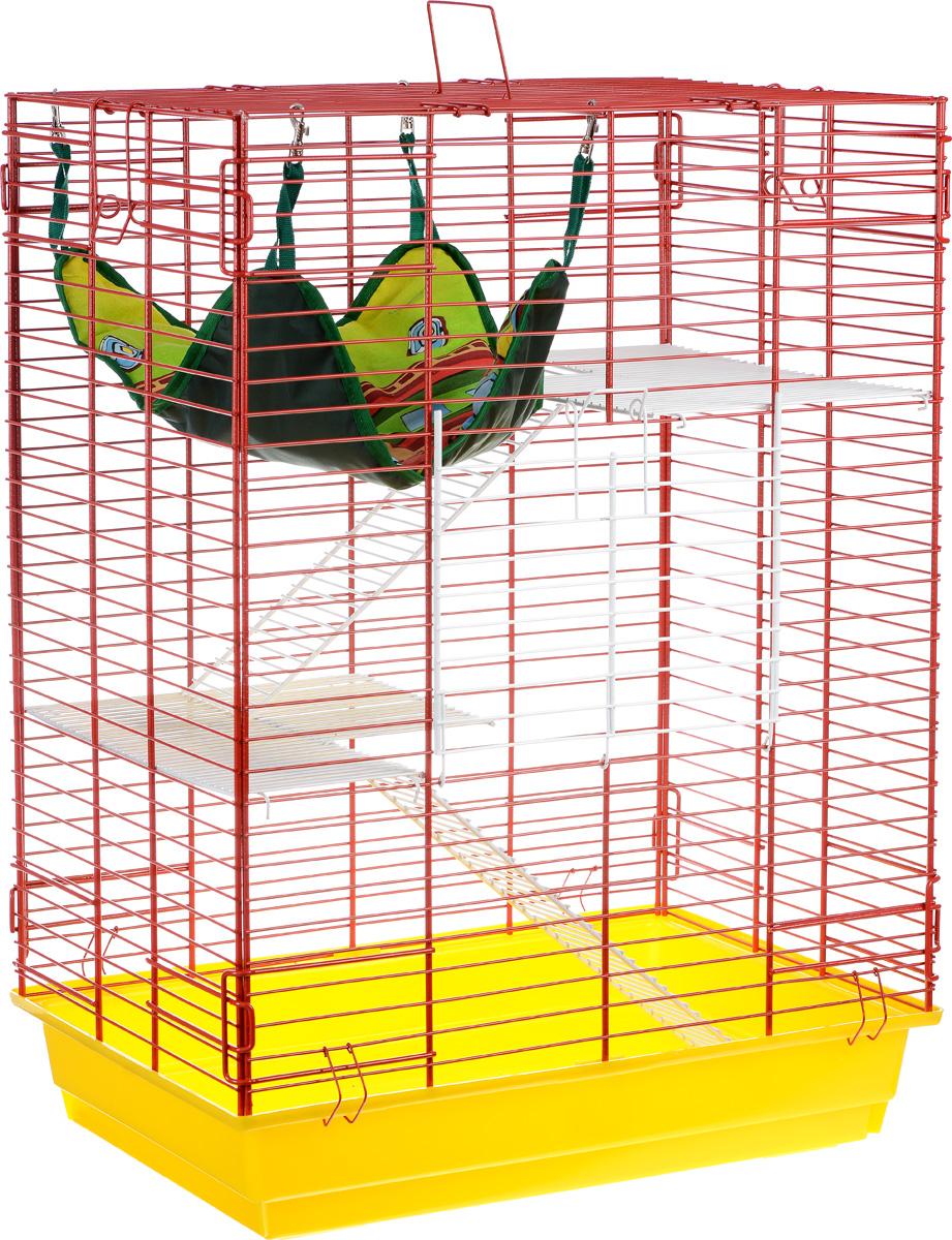 Клетка для шиншилл и хорьков ЗооМарк, цвет: желтый поддон, красная решетка, 59 х 41 х 79 см гамак кроватка для шиншилл и хорьков зоомарк подвесной цвет красный д 12к