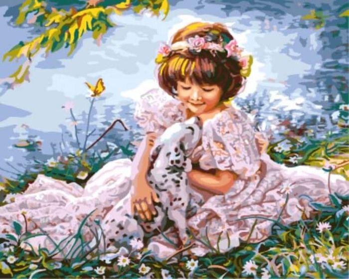 """Набор для рисования по номерам Цветной """"Девочка с далматинцем"""", 40 x 50 см"""