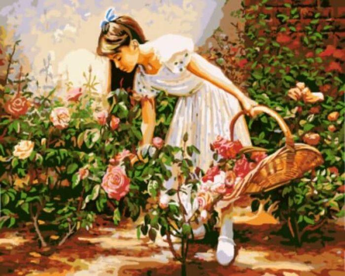 Набор для рисования по номерам Цветной Девочка с корзиной роз, 40 x 50 см набор для рисования по номерам цветной венецианский мостик 40 x 50 см