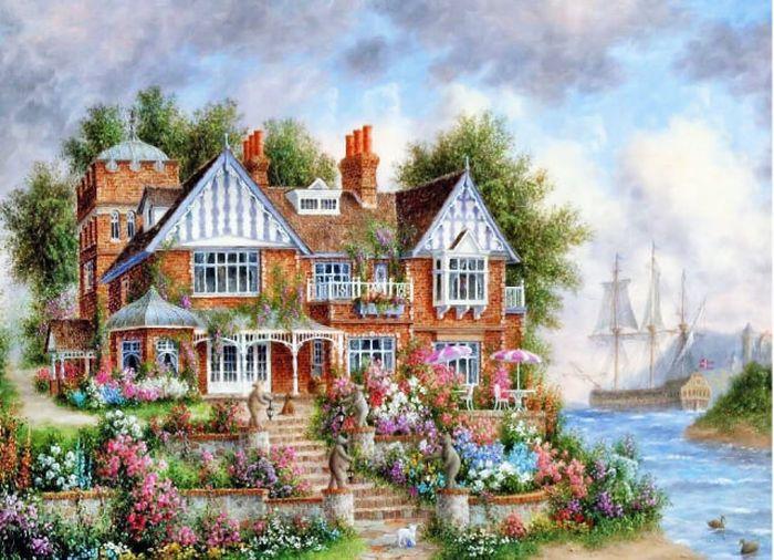 """Набор для рисования по номерам Цветной """"Дом с цветами"""", 40 x 50 см"""