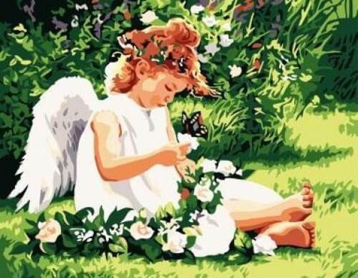 """Набор для рисования по номерам Цветной """"Ангел на лугу"""", 40 x 50 см"""