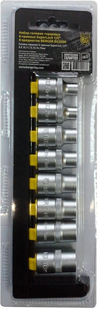 Набор головок торцевых Berger SuperLock, 6-гранных, 1/2, 8 предметов. BG2028 унив набор торцевых головок jonnesway 1 4dr 4 13 мм и 1 2dr 8 32 мм комбинированных ключей 6 32 мм и отверток 128 предметов