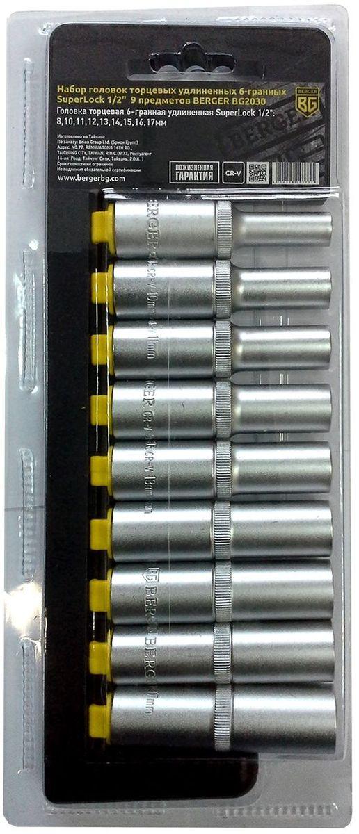 Набор головок торцевых Berger SuperLock, удлинненных, 6-гранных, 1/2, 9 предметов. BG2030 набор торцевых головок alca 17 предметов