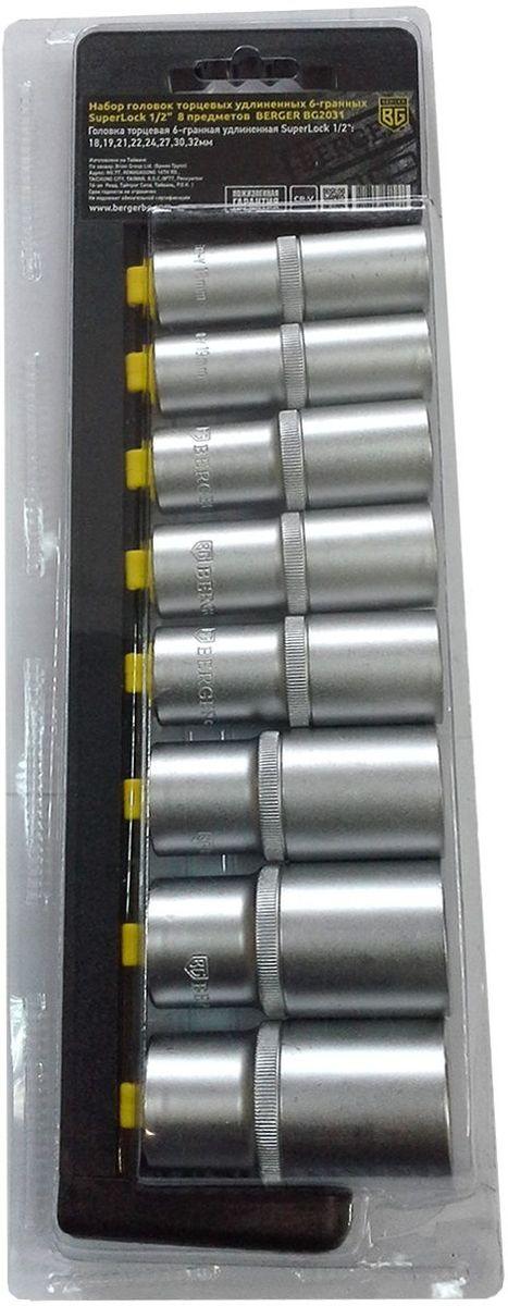 Набор головок торцевых Berger SuperLock, удлиненных, 6-гранных, 1/2, 8 предметов. BG2031 головка торцевая berger bg 12sd27 удл 1 2 6 гранная 27мм superlock