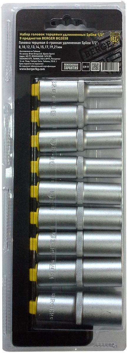 Набор головок торцевых Berger Spline, удлинненных, 1/2, 9 предметов. BG2038 набор торцевых головок sata 14 штук 09523