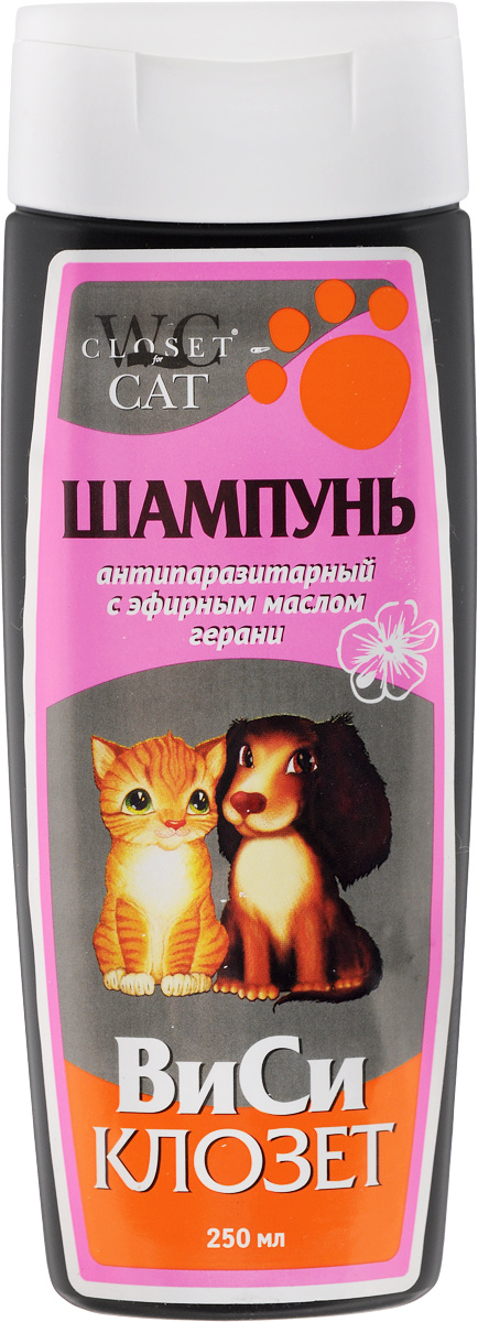 """Шампунь для кошек и собак """"ВиСи Клозет"""", антипаразитарный, с эфирным маслом герани, 250 мл"""