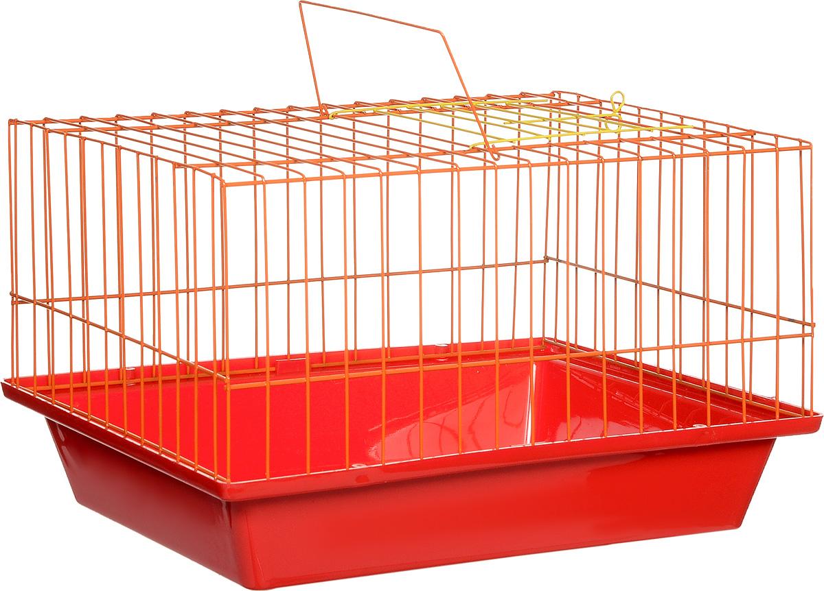Клетка для морской свинки ЗооМарк, цвет: красный поддон, оранжевая решетка, 41 х 30 х 25 см цена