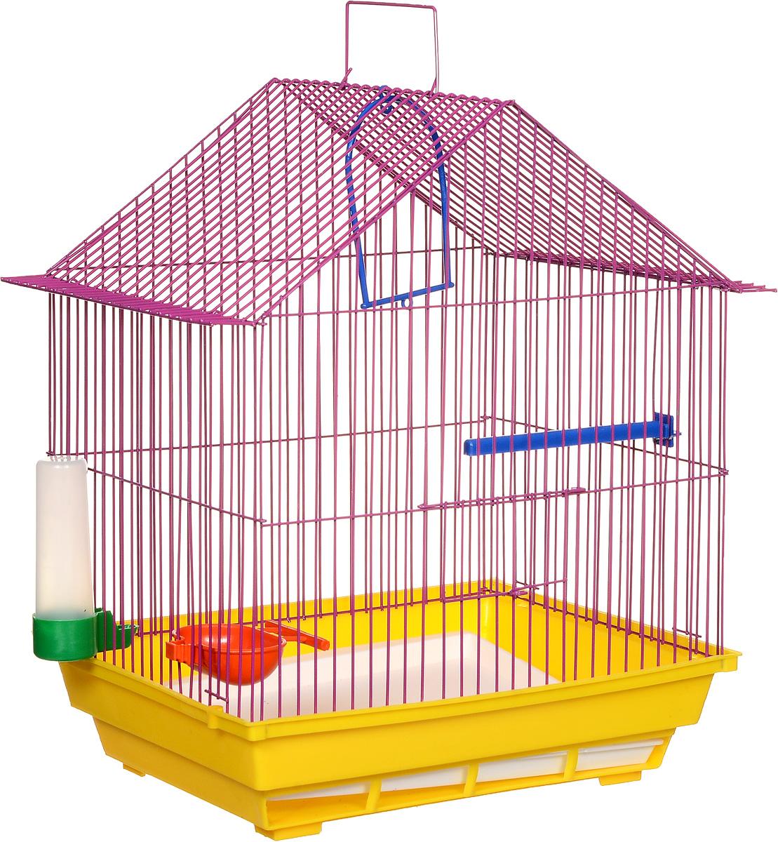 Клетка для птиц ЗооМарк, цвет: желтый поддон, фиолетовая решетка, 39 х 28 х 42 см цена