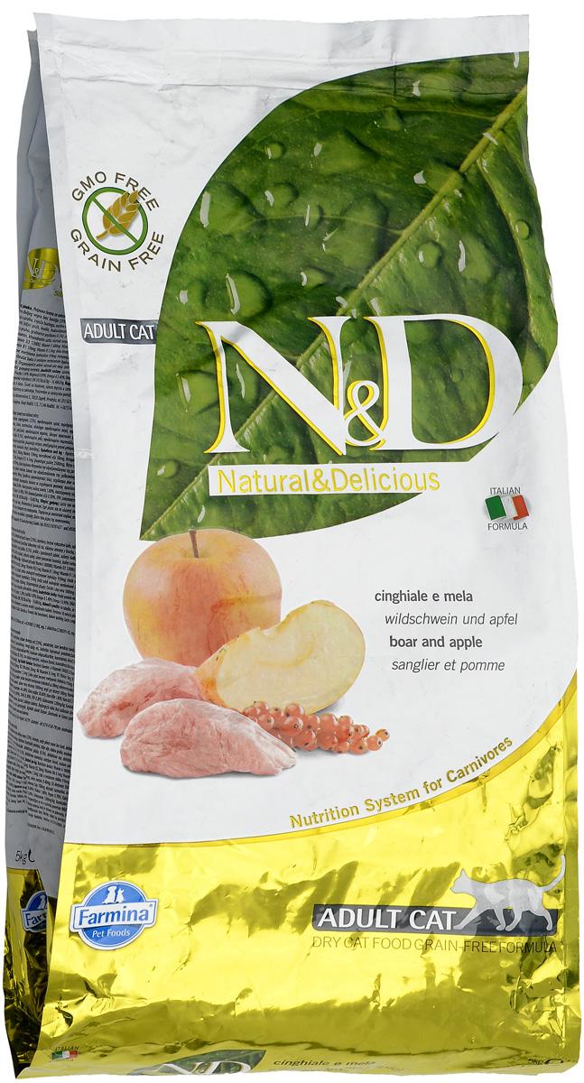 """Корм сухой для взрослых кошек Farmina """"N&D"""", беззерновой, с кабаном и яблоком, 5 кг"""
