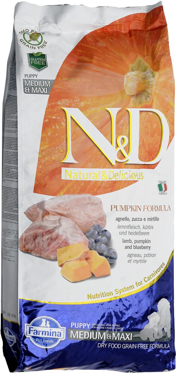 """Корм сухой Farmina """"N&D"""" для щенков средних и крупных пород, беззерновой, с ягненком, черникой и тыквой, 12 кг"""