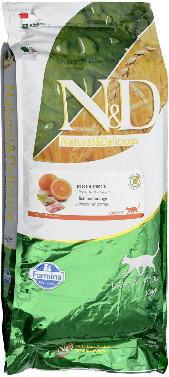 """Корм сухой для взрослых кошек Farmina """"N&D"""", беззерновой, с рыбой и апельсином, 10 кг"""