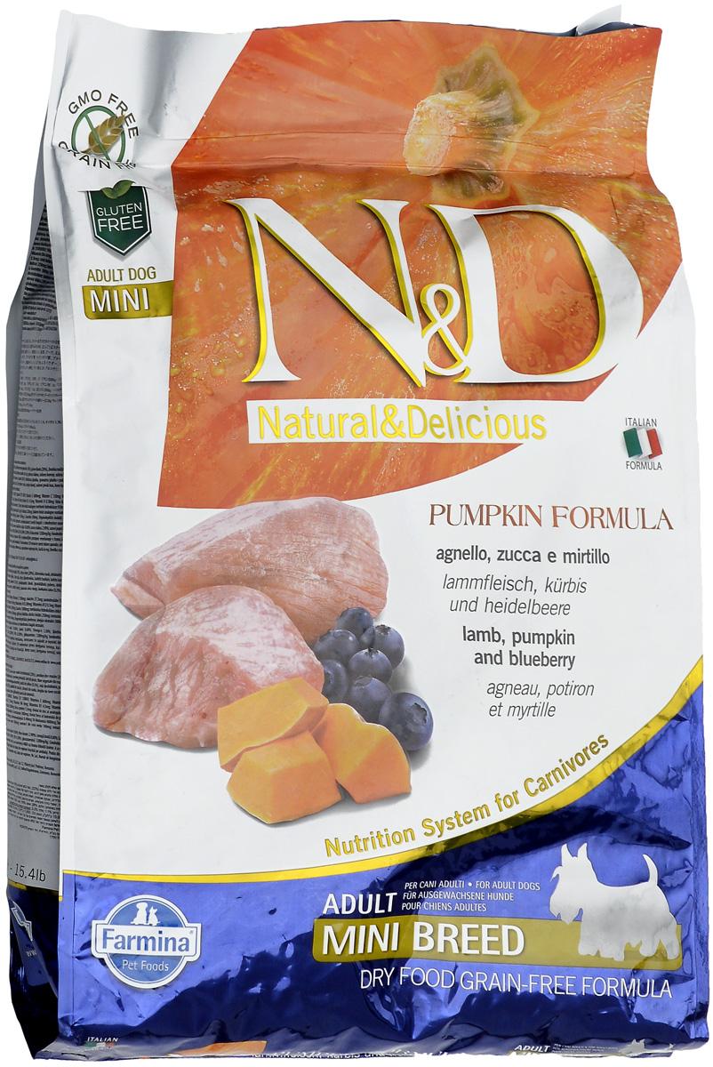 """Корм сухой Farmina """"N&D"""" для собак мелких пород, беззерновой, с ягненком, черникой и тыквой, 7 кг"""