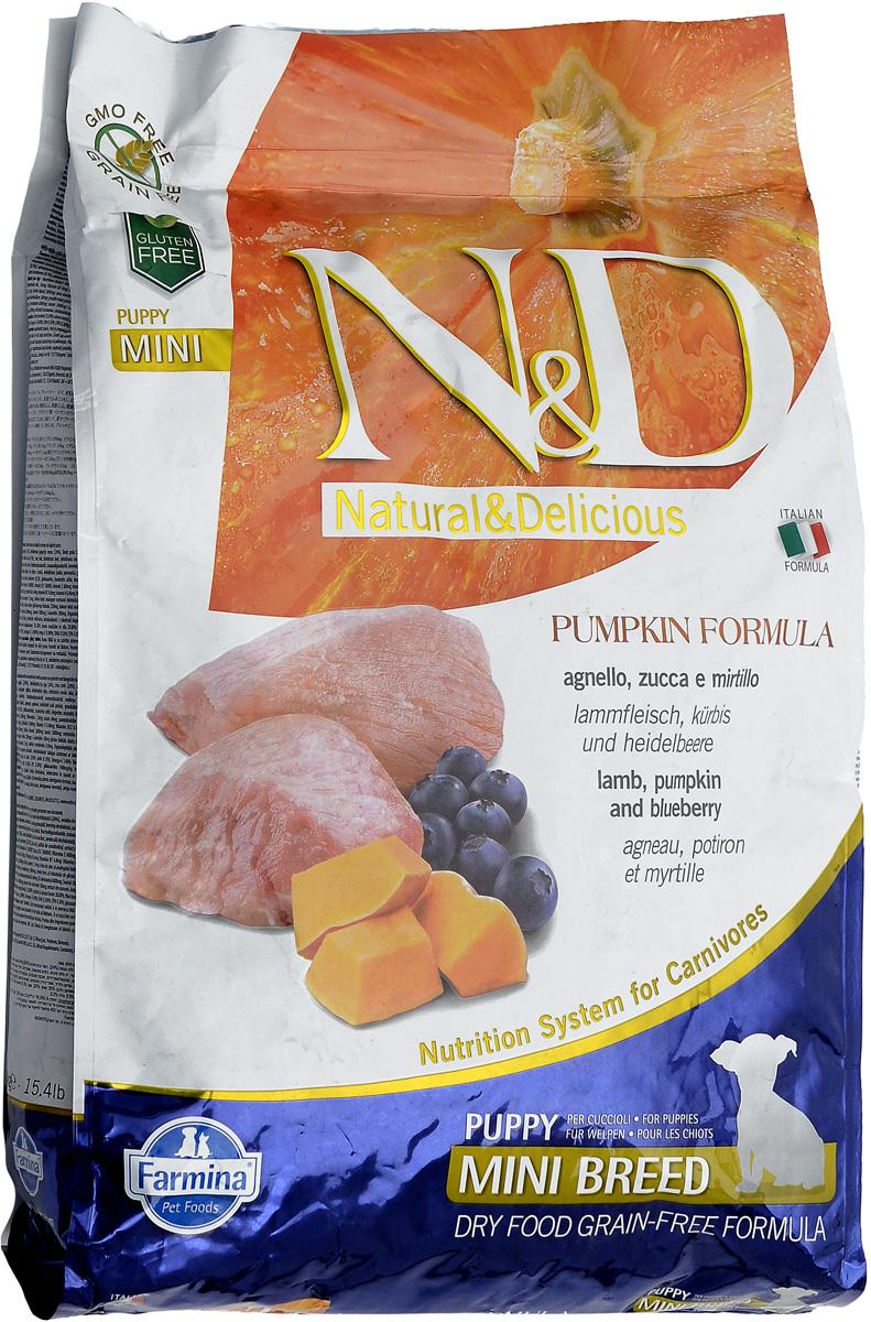 """Корм сухой Farmina """"N&D"""" для щенков мелких пород, беззерновой, с ягненком, черникой и тыквой, 7 кг"""
