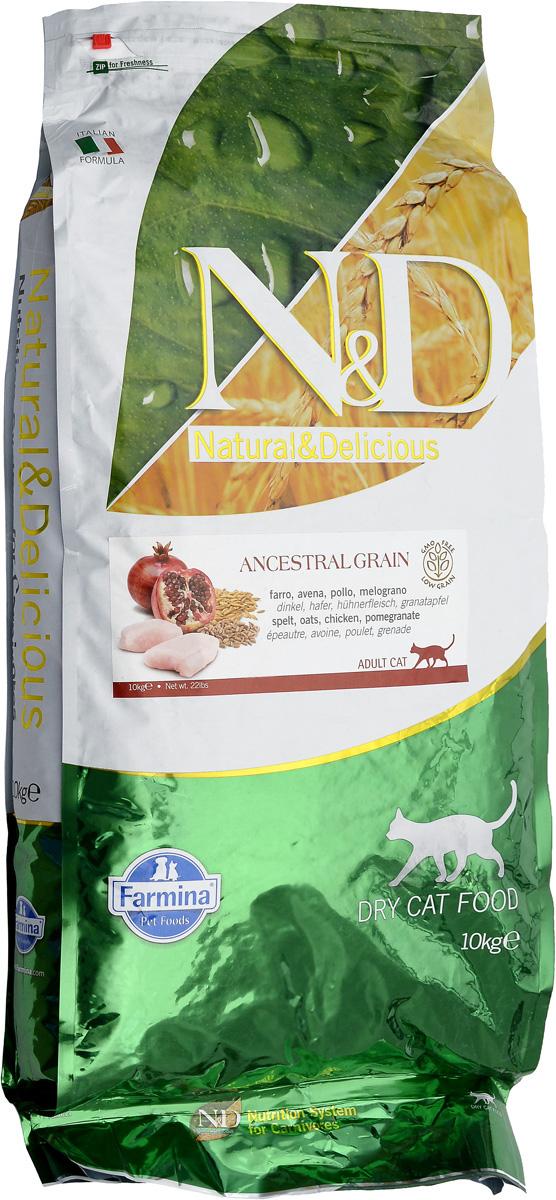 Корм сухой для взрослых кошек Farmina N&D, низкозерновой, с курицей и гранатом, 10 кг корм для животных оптом