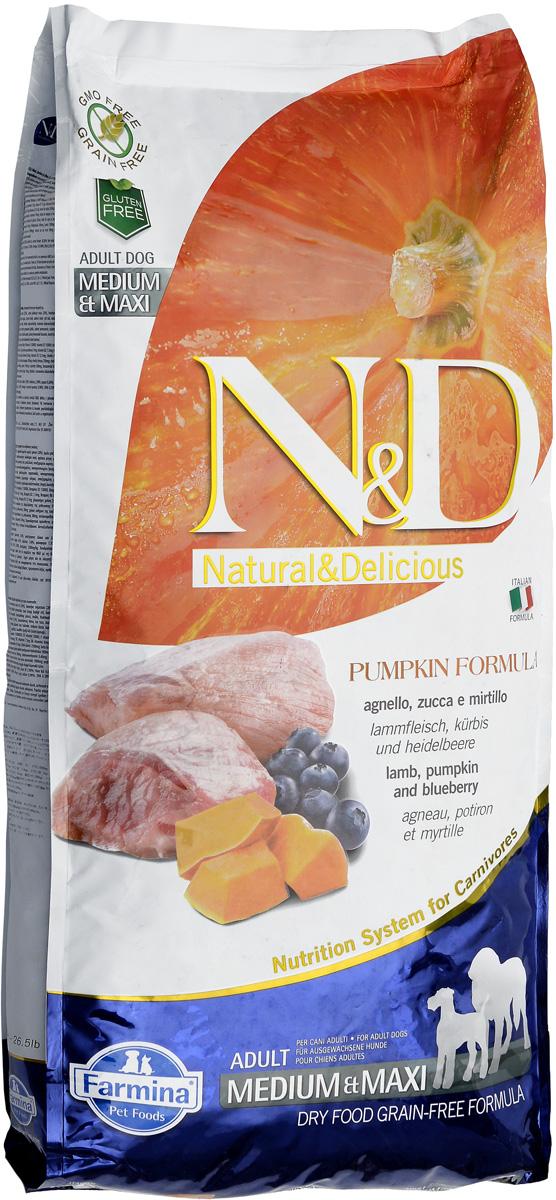 """Корм сухой Farmina """"N&D"""" для собак средних и крупных пород, беззерновой, с ягненком, черникой и тыквой, 12 кг"""