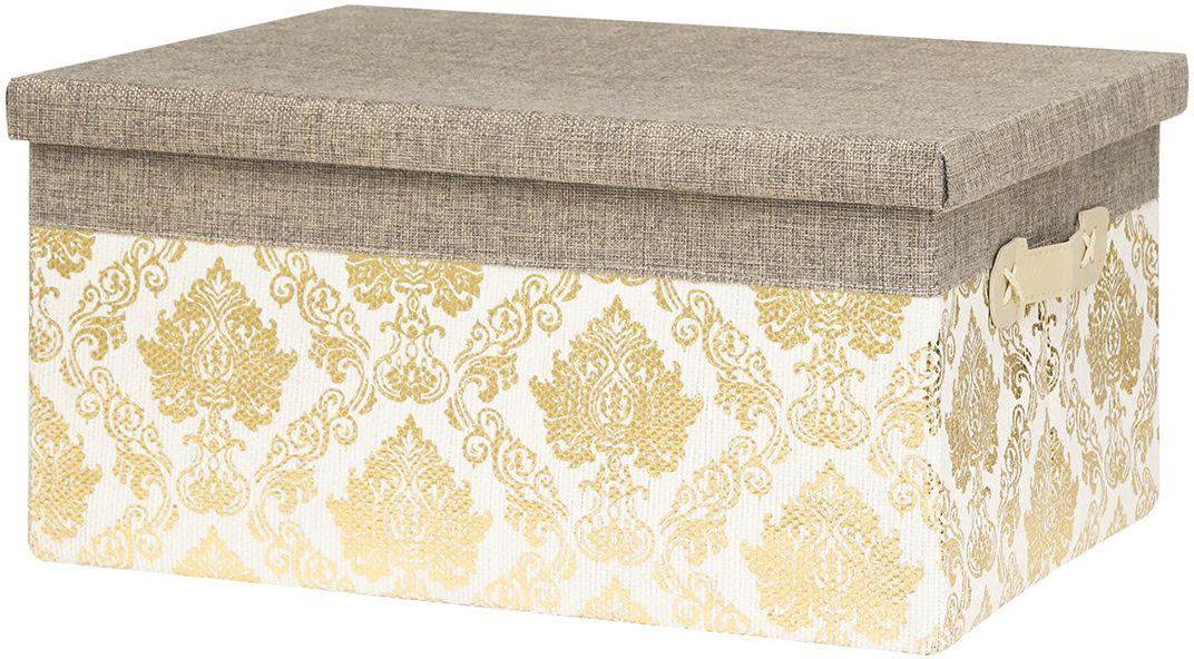 Кофр складной для хранения EL Casa Золотой узор, 2 ручки, крышка, 40 х 29 х 20 см кофр для хранения вещей el casa африка складной 35 х 20 х 16 см