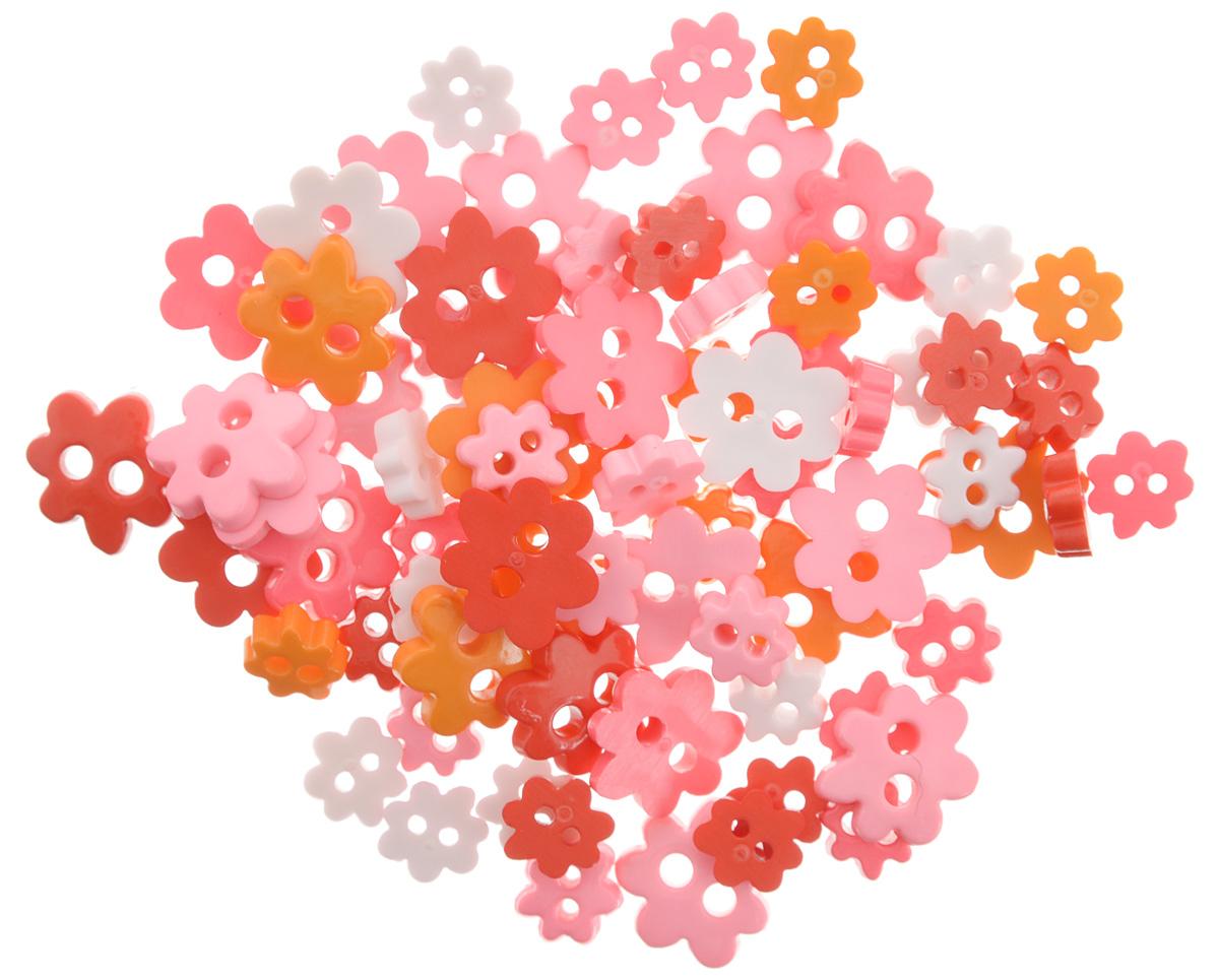 """Пуговицы декоративные Magic Buttons """"Цветы"""", цвет: оранжевый, розовый, белый, 5 г"""