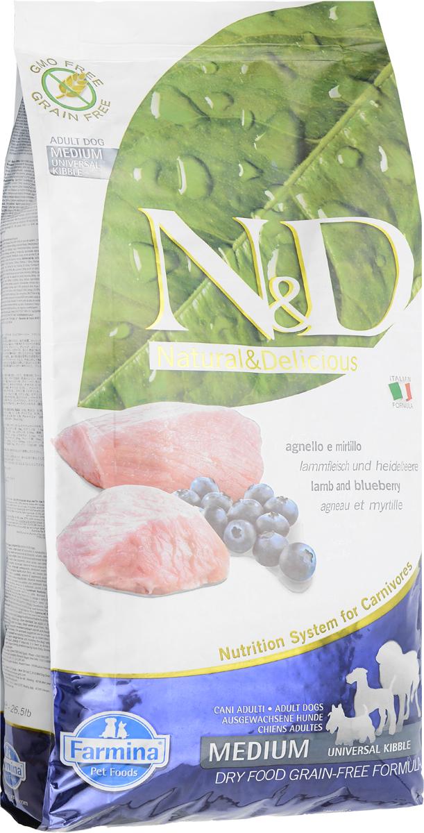 Корм сухой Farmina N&D для взрослых собак, беззерновой, с ягненком и черникой, 12 кг корм сухой беззерновой farmina n