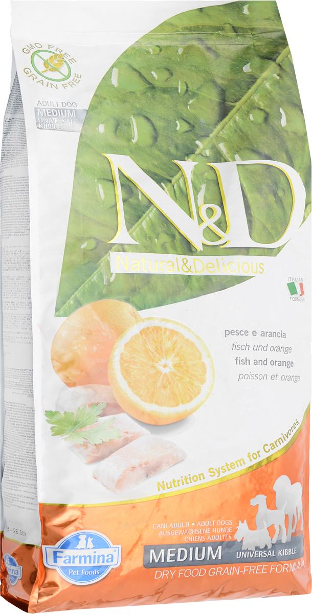 Корм сухой беззерновой Farmina N&D для собак, с рыбой и апельсином, 12 кг корм сухой farmina n