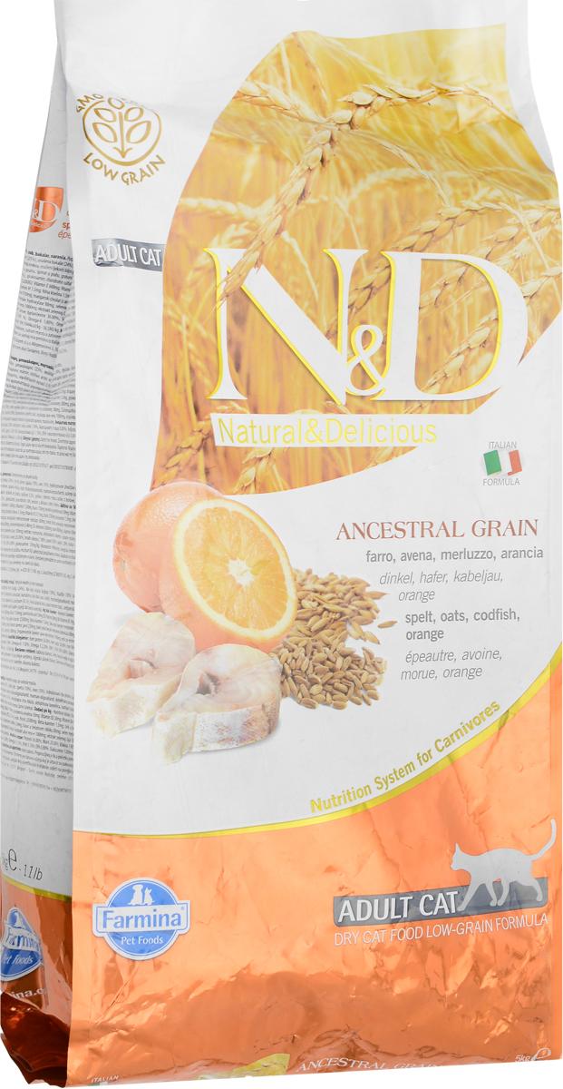 Корм сухой Farmina N&D для взрослых кошек, низкозерновой, с треской и апельсином, 5 кг корм сухой farmina n