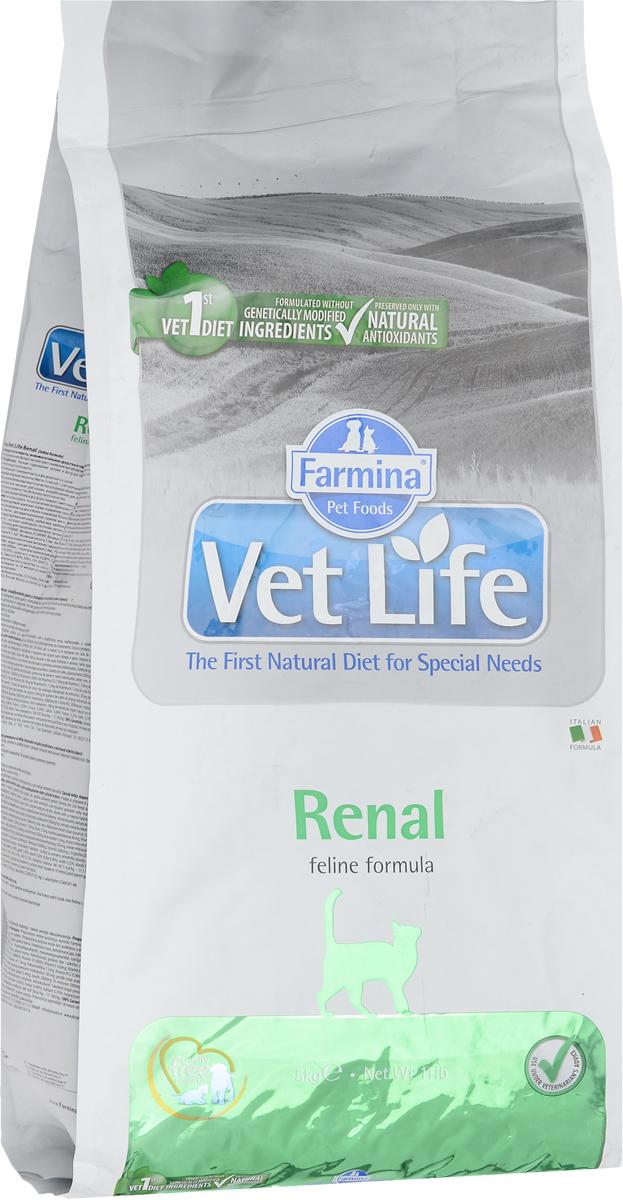 Корм сухой Farmina Vet Life для кошек, для поддержания функции почек при почечной недостаточности, диетический, 5 кг корм сухой farmina vet life для кошек для поддержания функции почек при почечной недостаточности диетический 400 г