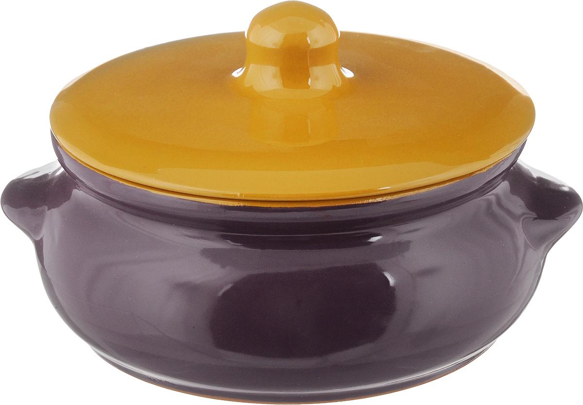 Горшок для запекания Борисовская керамика Радуга, с крышкой, цвет: фиолетовый, светло-коричневый, 700 мл горшок для запекания борисовская керамика радуга с крышкой цвет голубой желтый 700 мл