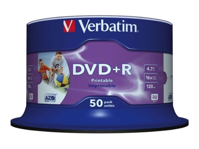 DVD+R Verbatim 4,7 GB 16x CB/50 Full Ink Print (43512), синий, фиолетовый дятел dvd r 16 серия скорость движения 4 7 г диски оранжевый ствол 50