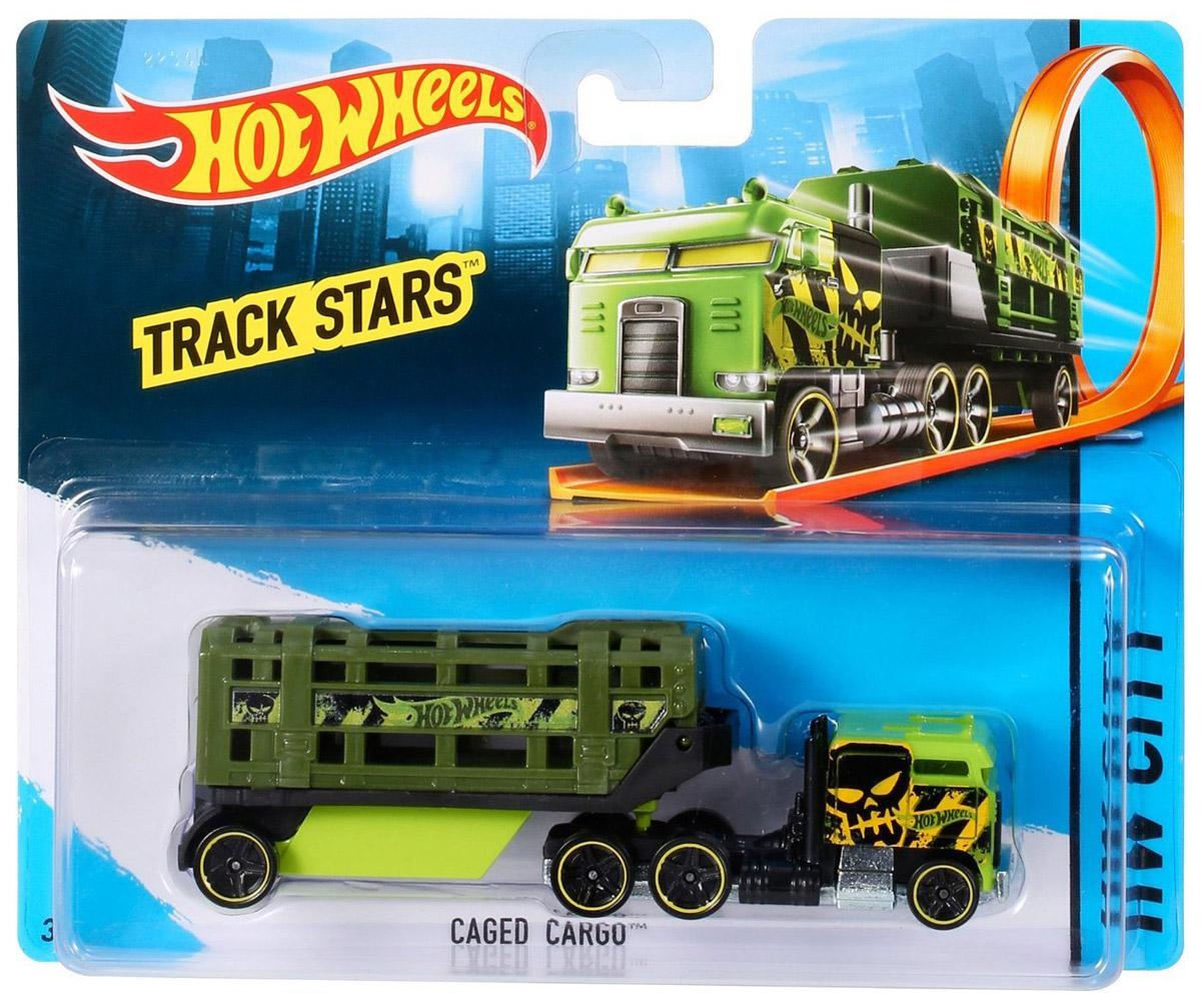 Hot Wheels Track Stars Трейлер Caged Cargo цвет зеленый
