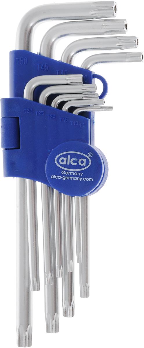 Набор ключей-звездочек Alca, шлиц вида Torx, с торцевым отверстием, цвет: синий, серый, 9 шт набор ключей шестигранных kraft professional torx т10 т50 9 шт
