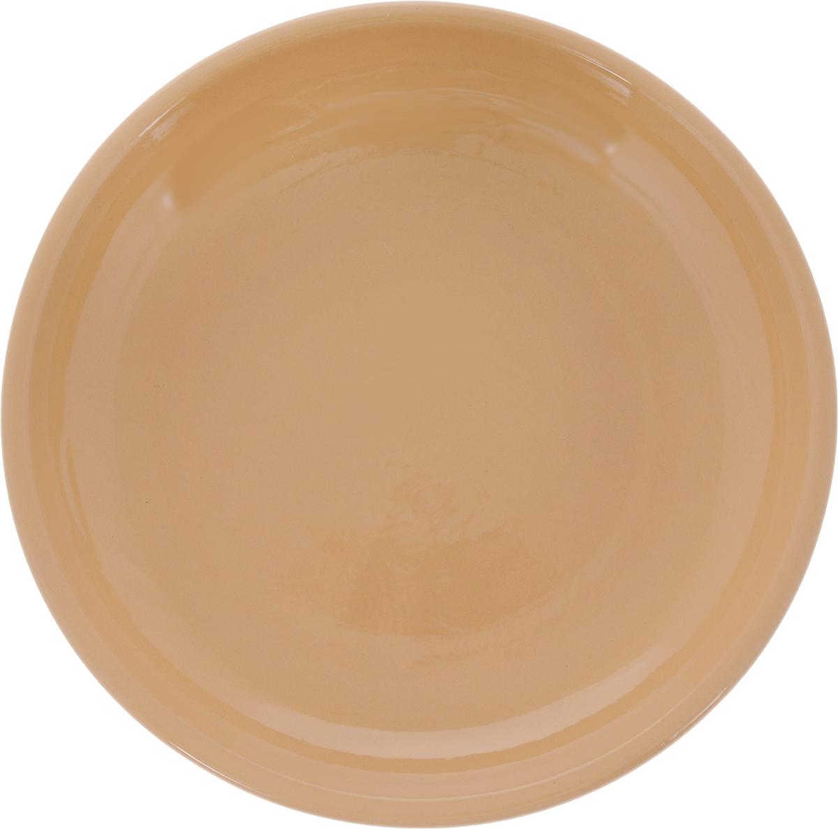 """Тарелка Борисовская керамика """"Радуга"""", цвет: бежевый, диаметр 18 см"""