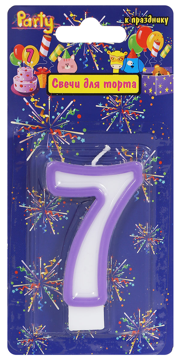 Action! Свеча-цифра для торта 7 лет цвет фиолетовый цифра 7