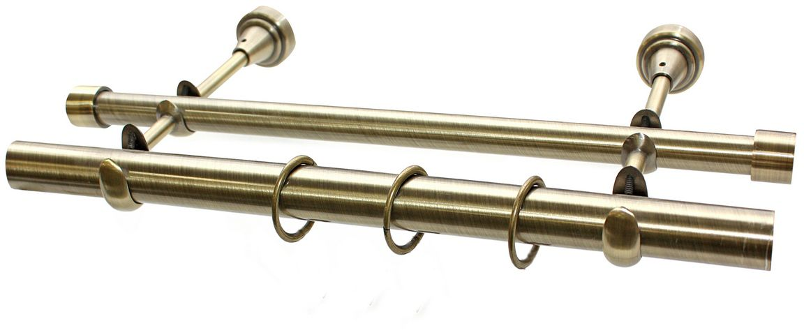 """Карниз """"Эскар"""", комплектный, двухрядный, цвет: латунь, диаметр 25/16 мм, длина 160 см"""