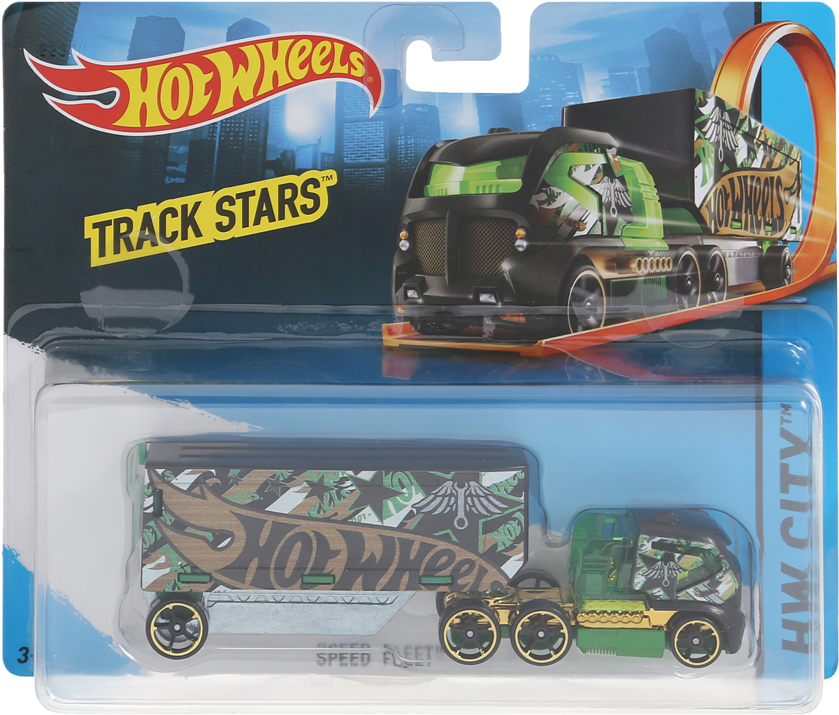 Hot Wheels Track Stars Трейлер Speed Fleet игрушка iron track it e18xb