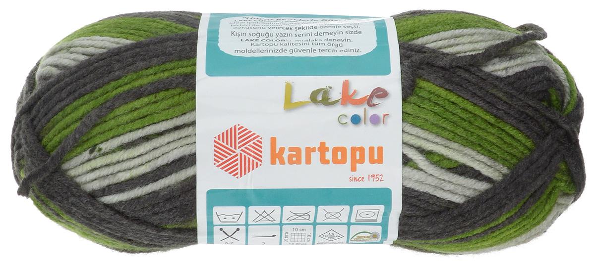 "Пряжа для вязания Kartopu ""Lake Color"", цвет: черный, зеленый, белый (H1261), 125 м, 100 г, 5 шт"