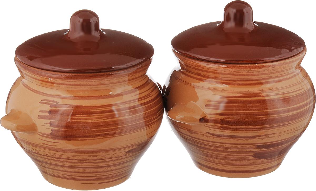 Набор горшочков для запекания Борисовская керамика Стандарт, с крышками, цвет: коричневый, 500 мл, 2 шт набор горшочков для запекания борисовская керамика стандарт с крышками цвет сиреневый 500 мл 6 шт