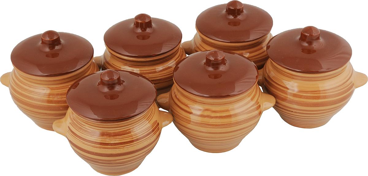 Набор горшочков для запекания Борисовская керамика Стандарт, с крышками, цвет: коричневый, 500 мл, 6 шт набор горшочков для запекания борисовская керамика стандарт с крышками цвет сиреневый 500 мл 6 шт