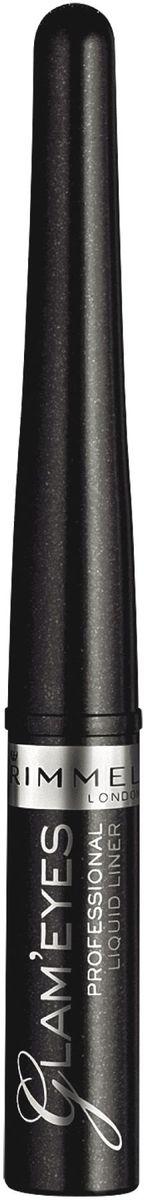 Жидкая подводка для глаз Rimmel Glam'eyes Professional Liquid Liner, тон 001, 3,5 мл подводка маркер для глаз rimmel scandaleyes micro eyeliner тон 001 1 1 мл